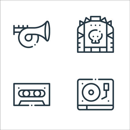 rock n roll line icons. linear set. quality vector line set such as turntable, cassette tape, leather jacket