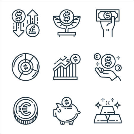 money and currency line icons. linear set. quality vector line set such as gold bars, piggy bank, euro coin, money, money growth, pie graph, payment method, tree