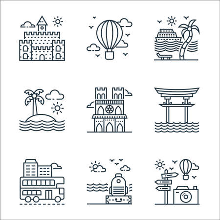 tourism line icons. linear set. quality vector line set such as guidepost, luggage, double decker bus, torii gate, notre dame, island, cruise ship, hot air balloon