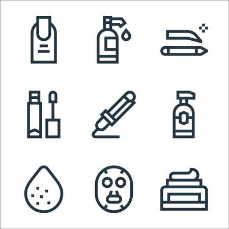 beauty line icons. linear set. quality vector line set.