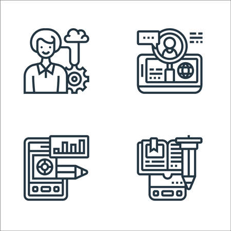 digital transformation line icons. linear set. quality vector line set such as e learning, prototype, hiring