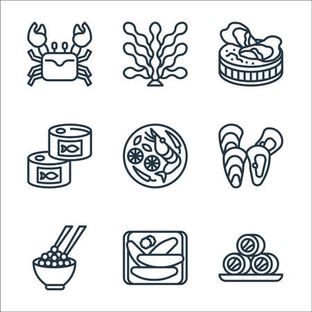 seafood line icons. linear set. quality vector line set such as roll fish, kazunoko, caviar, mussel, tom yum, tuna, oyster, seaweed