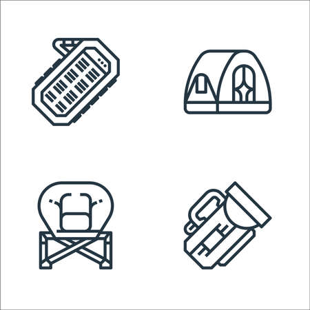 camping line icons. linear set. quality vector line set.