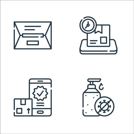 delivery line icons. linear set. quality vector line set such as hydroalcoholic gel, confirmation, delivery time