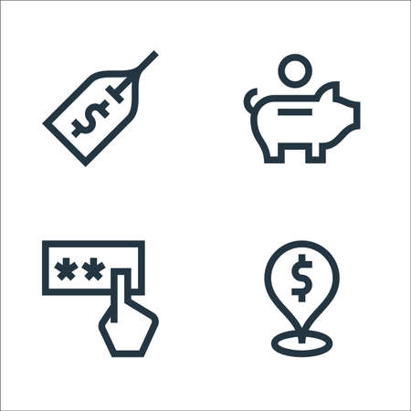 payment line icons. linear set. quality vector line set such as location, pin code, piggy bank