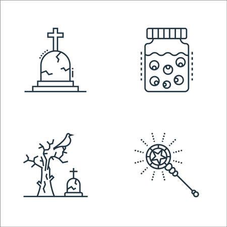 spooky halloween line icons. linear set. quality vector line set such as wizard, dead tree, eye jar Ilustração