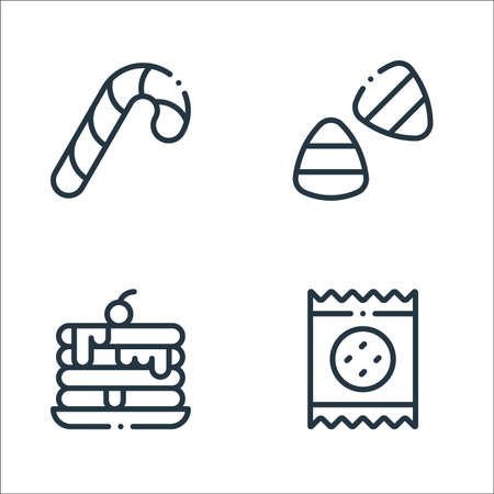 desserts candies line icons. linear set. quality vector line set such as biscuit, pancake, candy corn