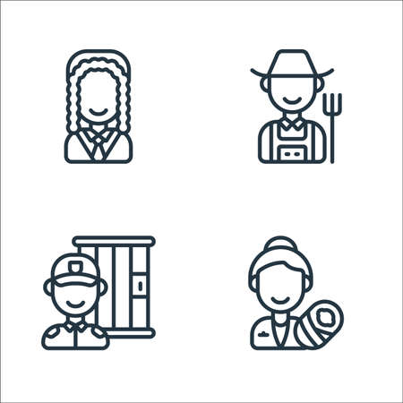 key workers line icons. linear set. quality vector line set such as midwife, guard, farmer