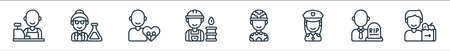 key workers line icons. linear set. quality vector line set such as food delivery, undertaker, police officer, soldier, worker, social care, scientist