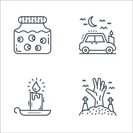 spooky halloween line icons. linear set. quality vector line set such as living dead, candle light, car