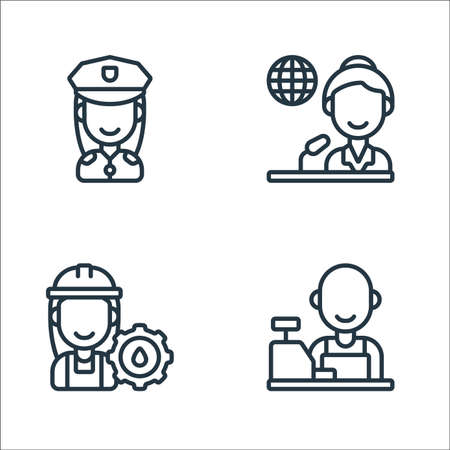 key workers line icons. linear set. quality vector line set such as cashier, worker, journalist