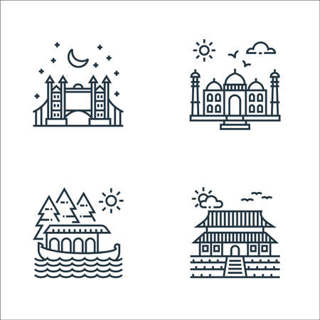 tourism line icons. linear set. quality vector line set.