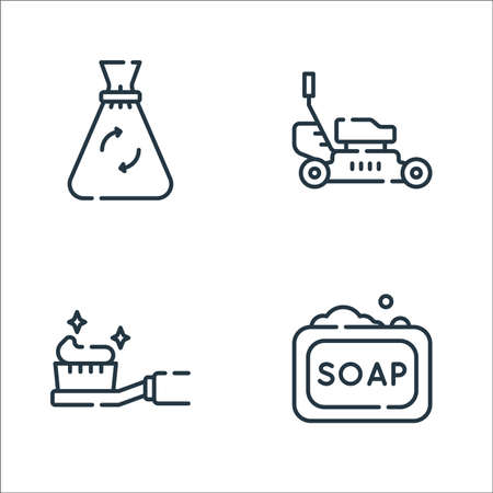 cleaning line icons. linear set. quality vector line set such as soap, toothbrush, lawnmower