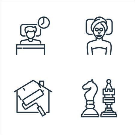 stay at home for quarantine line icons. linear set. quality vector line set.
