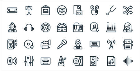 music line icons. linear set. quality vector line set. Vectores