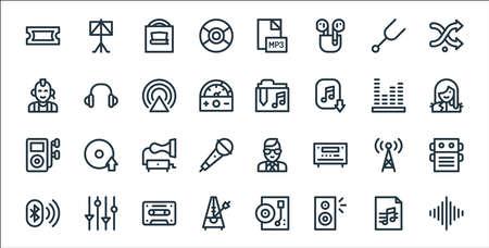 music line icons. linear set. quality vector line set. Illustration