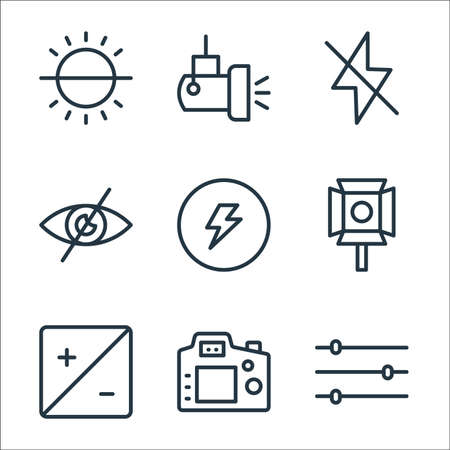 photography line icons. linear set. quality vector line set.