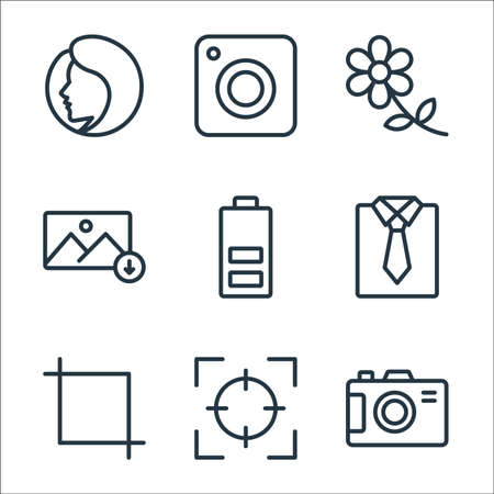 photography line icons. linear set. quality vector line set. Vecteurs