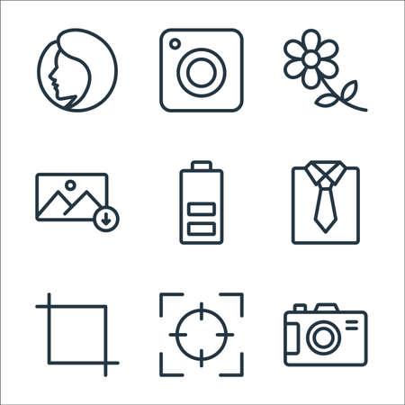 photography line icons. linear set. quality vector line set. Vektoros illusztráció