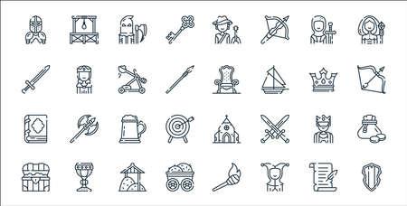 medieval times line icons. linear set. quality vector line set. Illustration