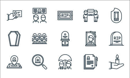 funeral line icons. linear set. quality vector line set.