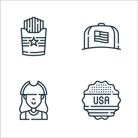 th of july line icons. linear set. quality vector line set such as sticker, patriot, cap Ilustração