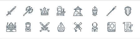 medieval times line icons. linear set. quality vector line set. Ilustração