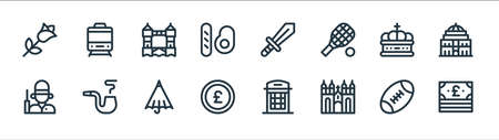 england line icons. linear set. quality vector line set.