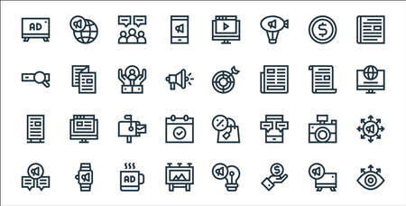 advertisement line icons. linear set. quality vector line set.
