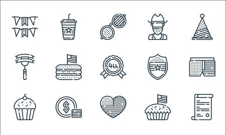 th of july line icons. linear set. quality vector line set. Ilustração
