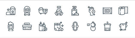 hygiene routine line icons. linear set. quality vector line set.