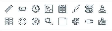 miscellaneous line icons. linear set. quality vector line set such as id card, target, search, calculator, button, timer, notebook, switch off