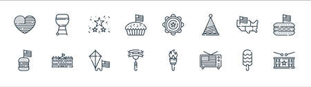 th of july line icons. linear set. quality vector line set such as drum, television, sausage, burger, usa, garlands, tambourine, grill