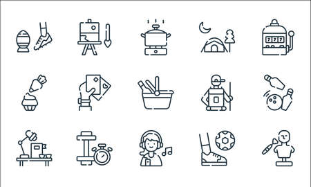 free time line icons. linear set. quality vector line set such as sculpt, listen, study, play, dumbbell, baking, hiking, camping tent, painting Ilustração