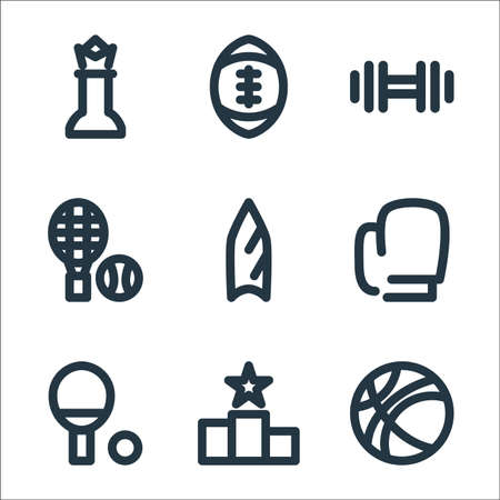 sport line icons. linear set. quality vector line set such as basketball, podium, boxing, surfing, tennis, dumbbell, american football