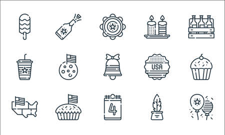 th of july line icons. linear set. quality vector line set such as th of july, th of july, usa, inkwell, apple pie, coffee, sticker, candles, champagne