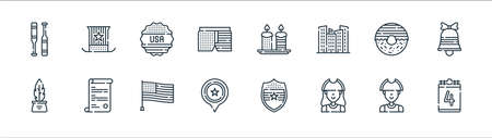 th of july line icons. linear set. quality vector line set such as th of july, patriot, usa, inkwell, donut, sticker, candles, usa