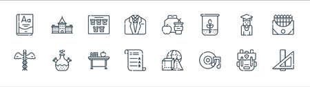 academy line icons. linear set. quality vector line set such as ruler, music, exam, medicine, student, schedule, lunch, academy Illustration