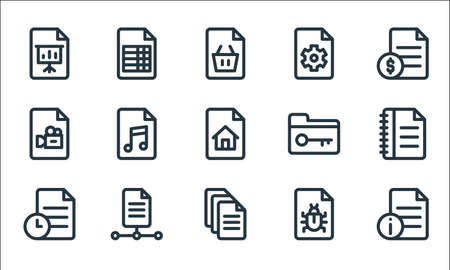 document and files line icons. linear set. quality vector line set.