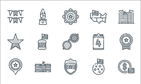 th of july line icons. linear set. quality vector line set such as dollar, shield, usa, moon, white house, star, th of july, usa, inkwell