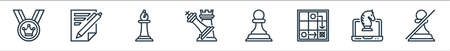 chess game line icons. linear set. quality vector line set.