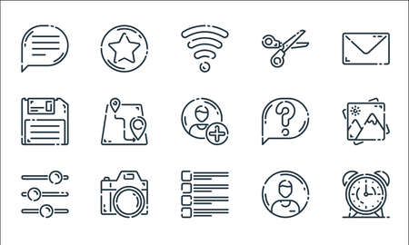 user interface line icons. linear set. quality vector line set. Vectores