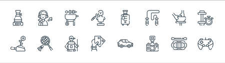 free time line icons. linear set. quality vector line set such as gaming, camera, poker cards, gardening, pottery, barbeque, travel, listen