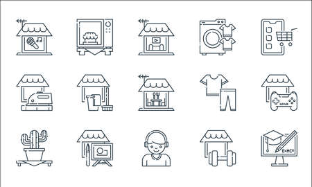 stay at home line icons. linear set. quality vector line set such as e learning, headphone, succuessful, gym, painting, ironing, clothes, washing machine, microwave Vektorové ilustrace