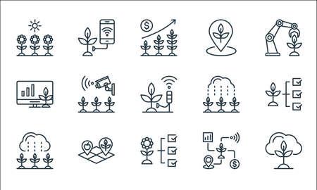 smart farm line icons. linear set. quality vector line set such as cloud, flower, rain, smart farm, land, monitor, rain, place, smart farm Illusztráció