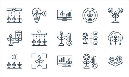 smart farm line icons. linear set. quality vector line set such as land, monitor, sunlight, thermometer, scanner, smart farm, flower, cycle, bulb