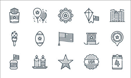 th of july line icons. linear set. quality vector line set such as th of july, star, burger, sticker, candles, torch, usa, kite, th of july