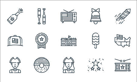 th of july line icons. linear set. quality vector line set such as drum, patriot, patriot, garlands, donut, cap, bell, baseball Ilustração