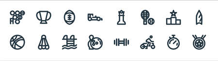 sport line icons. linear set. quality vector line set such as medal, bicycle, bowling, basketball, podium, american football, chess, trophy