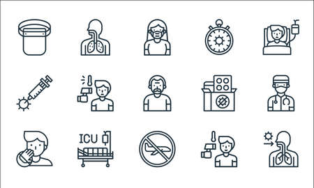flat covid virus pandemic line icons. linear set. quality vector line set. Vectores